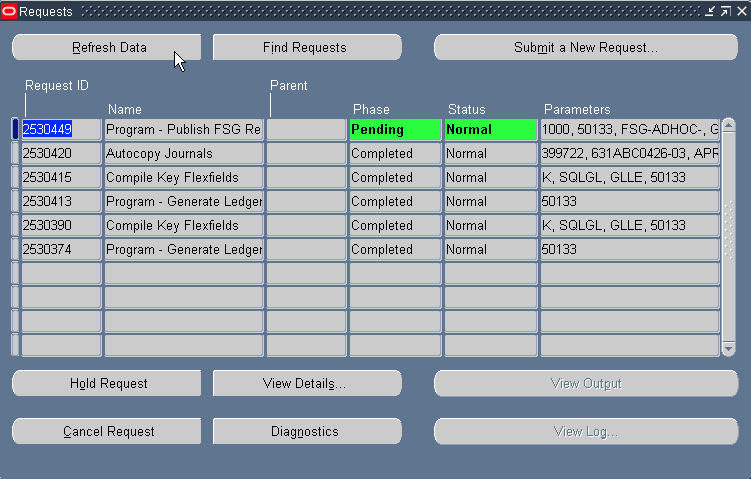 Request screen